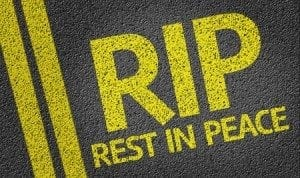 RIP - Rest in Peace - written on the road