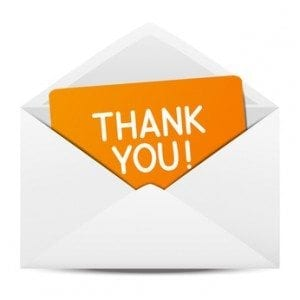 Paper envelope with Thanks message