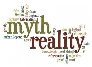 cloud of words or tags related to myth and reality, fiction and facts